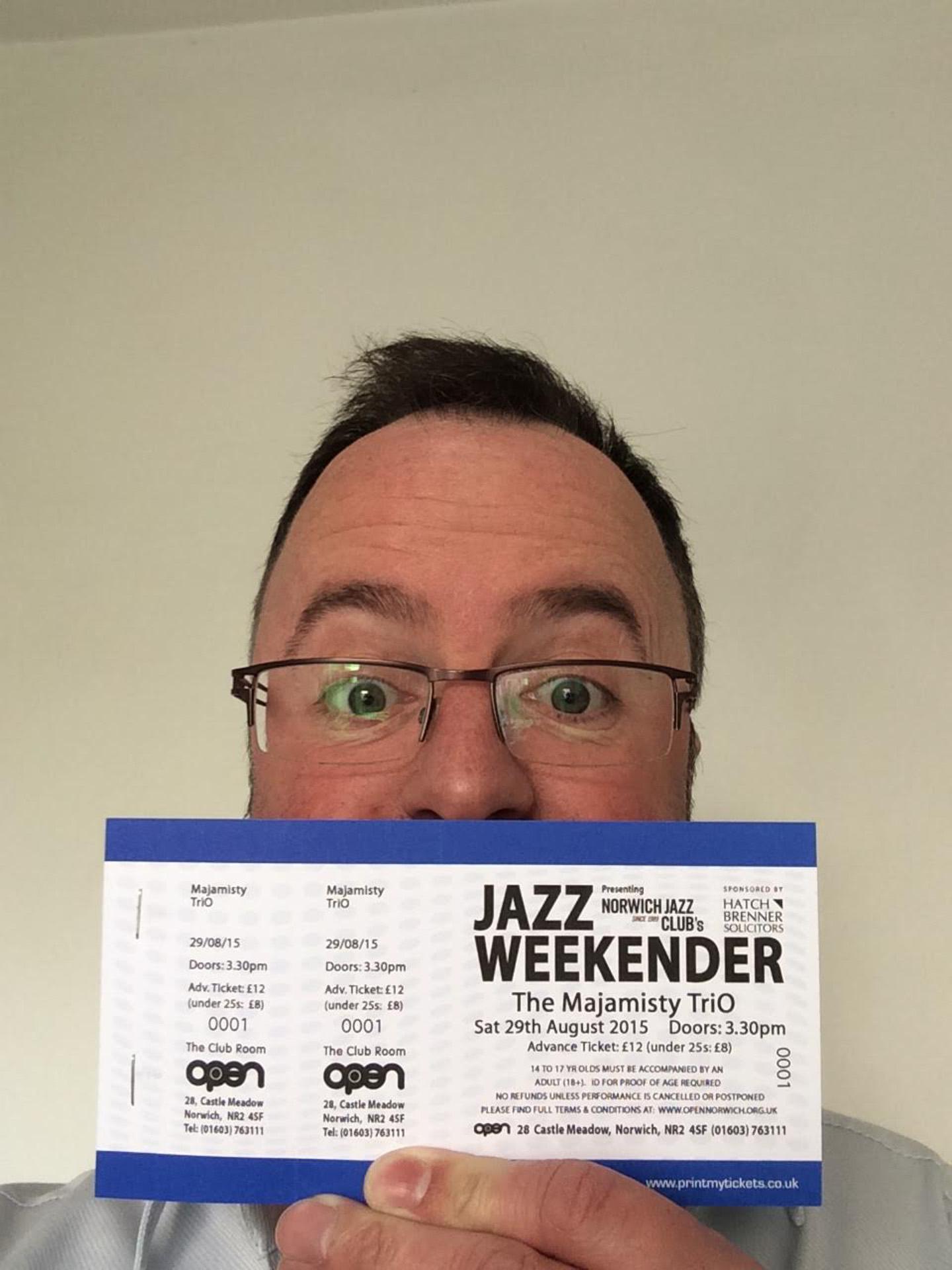 Norwich Jazz weekender, Simon Brown and concert ticket